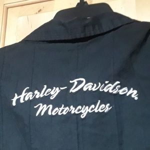 Harley-Davidson Tops - Harley Davidson Black With Print Button Down Top